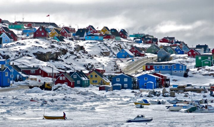 houses along the ice hills of the arctic