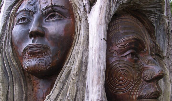 Wood Figures with Maori Patterns