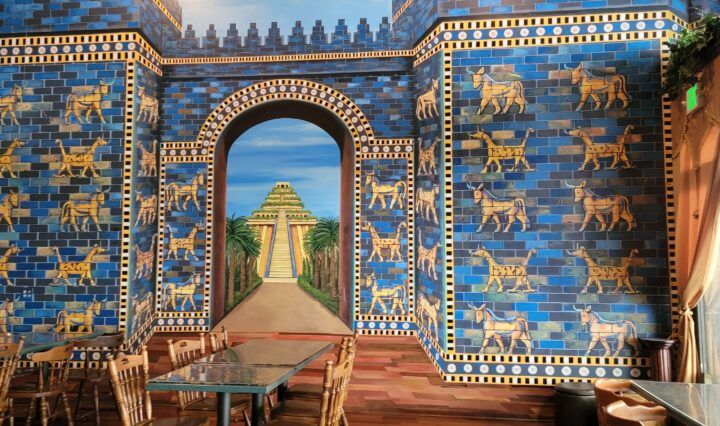 Mural of mythical city.