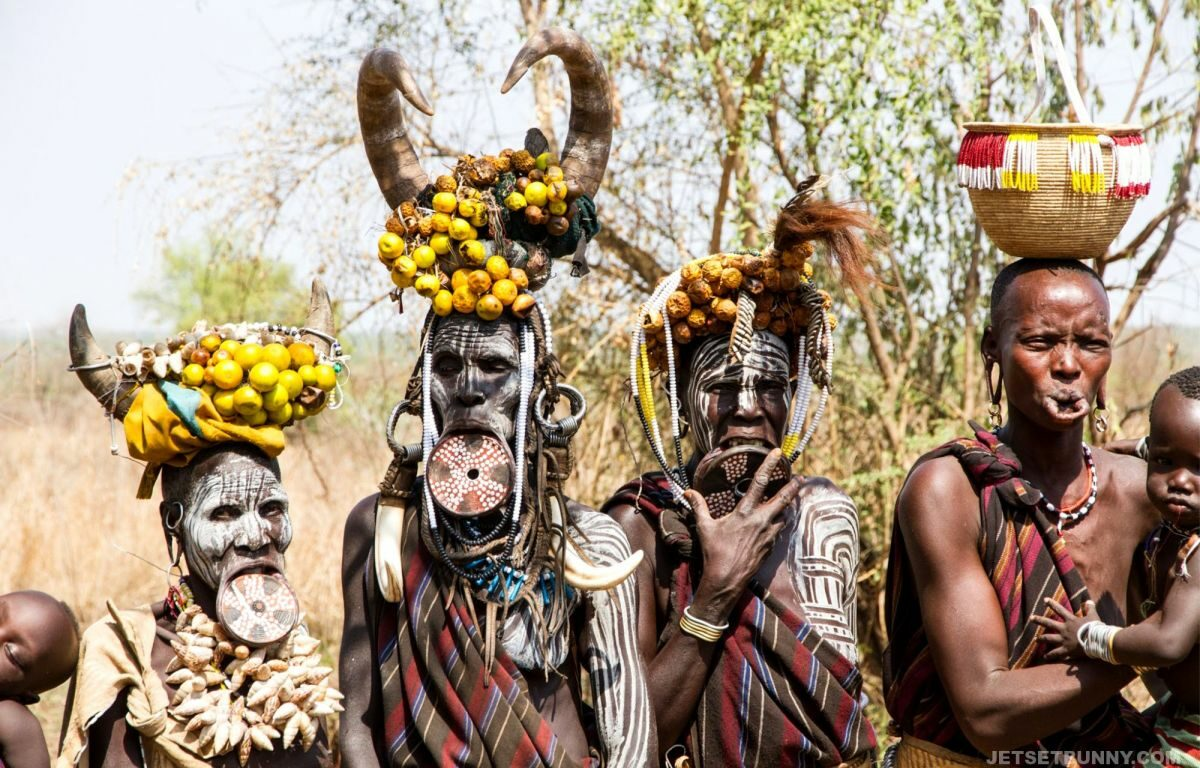 Mursi tribes women with her lip plate