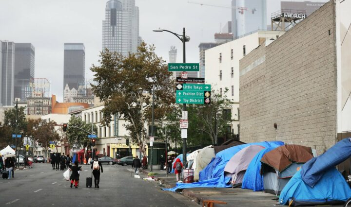 Tents of the homeless in Skid Row, Los Angeles.