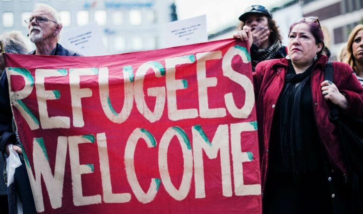 A demonstration in Sweden in solidarity with refugees seeking asylum in Europe after fleeing their home countries, September 2015.